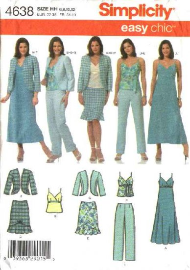 Simplicity Sewing Pattern 4638 Misses Size 14-20 Easy Wardrobe Dress Jacket Top Skirt Pants
