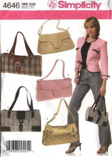 Simplicity Sewing Pattern 4646 Five Lined Handbags  Purses Bags