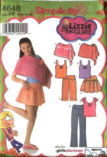 Simplicity Sewing Pattern 4648 Girls Plus Size 8½-16½ Wardrobe  Skirt Pants Knit Top Poncho Shorts