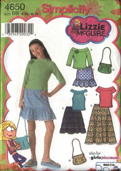 Simplicity Sewing Pattern 4650 Girls Plus Size 8½-16½ Tiered Peasant Skirt Knit Top Purse Bag