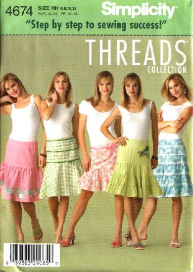 Simplicity Sewing Pattern 4674 Misses Size 14-20 Tiered Peasant Flared Boho Skirts Threads