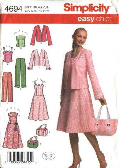 Simplicity Sewing Pattern 4694 Misses Size 6-12 Easy Wardrobe Sundress Jacket Top Pants Bag