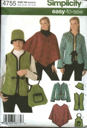 0c194a777 Simplicity Sewing Pattern 4755 Misses Size 6-12 Easy Jacket Vest Poncho Hat  Bag