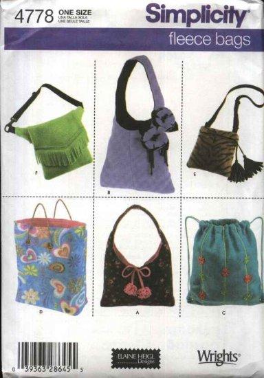 Simplicity Sewing Pattern 4778 Fleece Bags Hobo Purse Backpack Tote Shoulder Hip Pocketbook