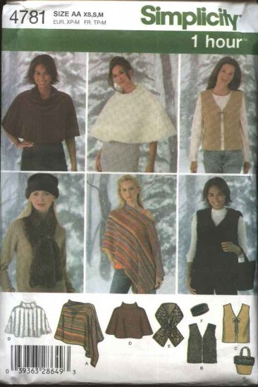 Simplicity Sewing Pattern 4781 0540 Misses Size 6-16 Ponchos Vest Scarf Head Band Bag