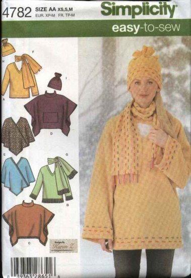 Simplicity Sewing Pattern 4782 Misses Size 18-24 Easy Fleece Top Ponchos Scarf hat