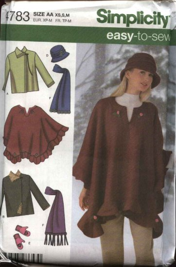 Simplicity Sewing Pattern 4783 Misses  Size 6-16 Easy Fleece Poncho Jacket Hat Scarf Mittens
