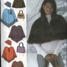 Simplicity Sewing Pattern 4785 Misses Size 18-24 Capelet Poncho Hat Bag Purse