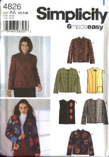 Simplicity Sewing Pattern 4826 Misses Size 18-24 Easy Jacket Vest Cardigan