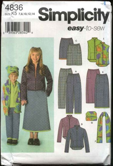 Simplicity Sewing Pattern 4836 Girls Size 7-14 Easy Skirt Vest Pants Jacket Scarf Hat