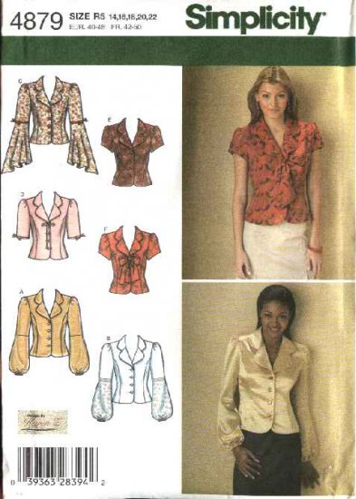 Simplicity Sewing Pattern 4879 Misses Size 6-8-10-12 Shirt Blouses Top Sleeve Variations