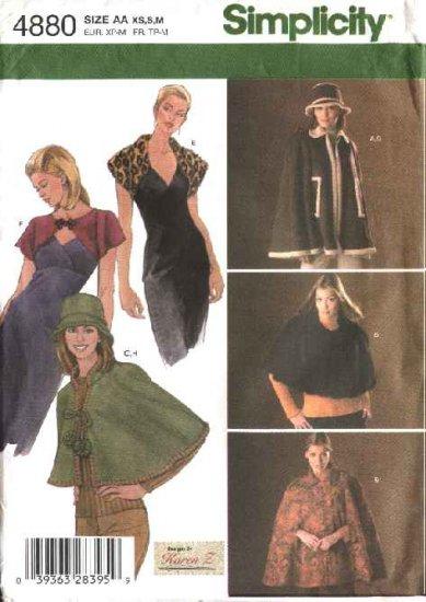 Simplicity Sewing Pattern 4880 Misses Size 6-16 Cape Capelet Shrug Hat Knit Shrug