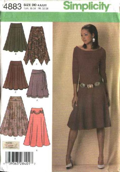 Simplicity Sewing Pattern 4883 Misses Size 4-10 Circle Layered Skirts