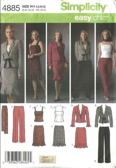 Simplicity Sewing Pattern 4885 Misses Size 6-12 Easy Wardrobe Jacket Top Skirt Pants Sash Suit