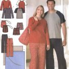 "Simplicity Sewing Pattern 4889 Mens Womans Chest Size 40-50"" Pants Top Shorts Bag Pajamas Blanket"