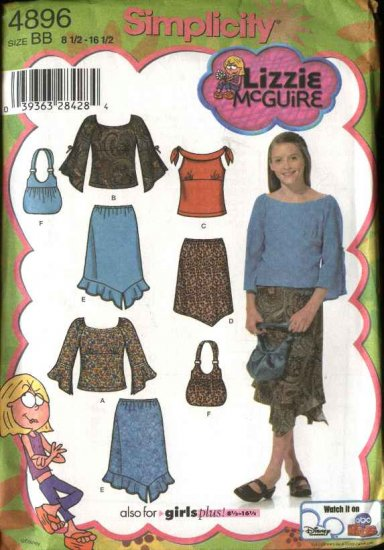 Simplicity Sewing Pattern 4896 Girls Plus Size 8½-16½ Skirts Tops  Bag Purse Lizzie McGuire