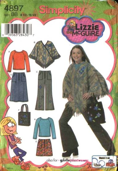 Simplicity Sewing Pattern 4897 Girls Plus Size 8½-16½ Wardrobe Skirt Pants Knit Top Poncho Purse