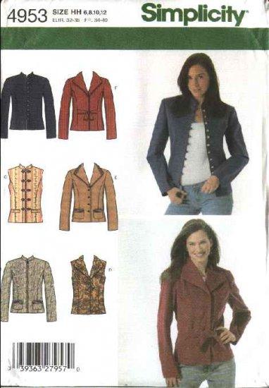 Simplicity Sewing Pattern 4953 Misses Size 6-8-10-12 Jacket  Vest