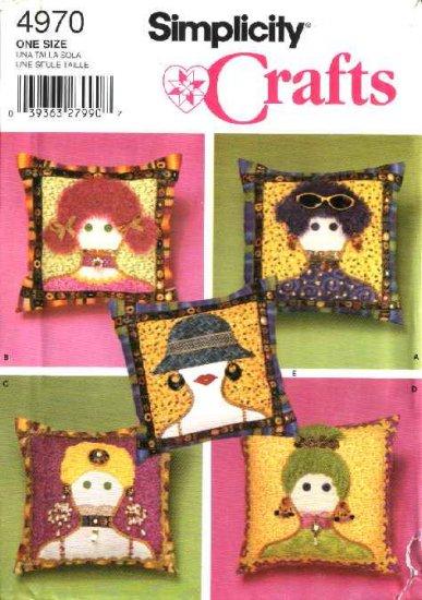 "Simplicity Sewing Pattern 4970 Crafts Appliquéd 14"" Pillows"