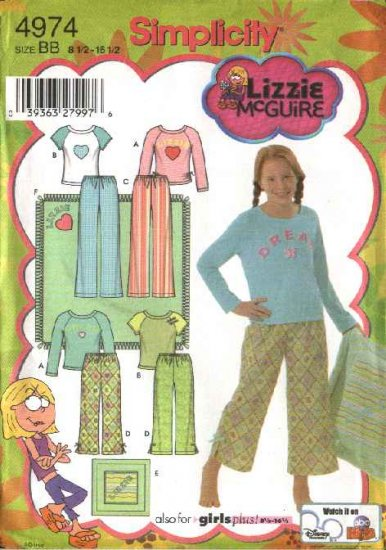 Simplicity Sewing Pattern 4974 Girls Plus Size 8½-16½ Pajamas Pants Knit Top Pillow Blanket