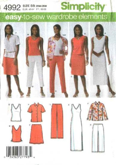 Simplicity Sewing Pattern 4992 Womans Plus Size 20W-28W Easy Wardrobe Shirt Dress Top Skirt Pants