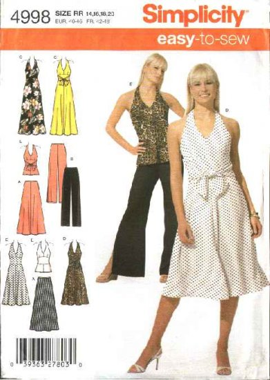 Simplicity Sewing Pattern 4998 Misses Size 6-8-10-12 Easy Halter Top Skirt Pants Dress