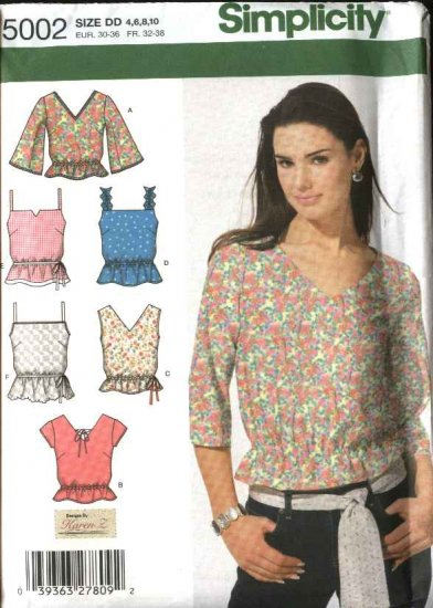 Simplicity Sewing Pattern 5002 Misses Size 4-6-8-10 Summer Pullover Tops