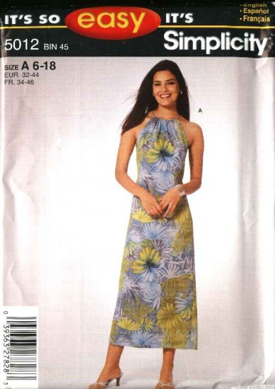 Simplicity Sewing Pattern 5012 Misses Size 6-18 Easy Summer Dress Top Bias Skirt