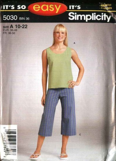 Simplicity Sewing Pattern 5030 Misses Size 10-22 Easy Cropped Pants Tank Top Shell