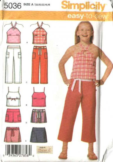 Simplicity Sewing Pattern 5036 Girls Size 7-16 Easy Halter Top Capri Mini-Skirt Shorts