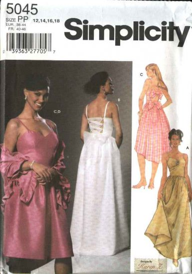 Simplicity Sewing Pattern 5045 Misses Size 4-10 Evening Dress Formal Gown  Wrap Shawl