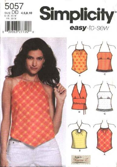 Simplicity Sewing Pattern 5057 Misses Size 4-10 Easy Halter Summer Tops