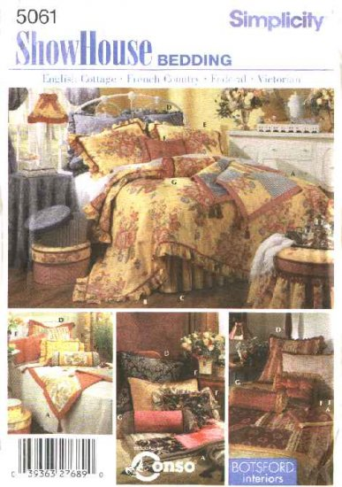 Simplicity Sewing Pattern 5061 Bedroom Accessories Throw Comforter Dust Ruffle Pillow