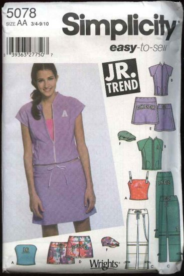 Simplicity Sewing Pattern 5078 Junior Size 3/4 - 9/10 Easy Wardrobe Top Mini Skirt Pants Shorts Hat