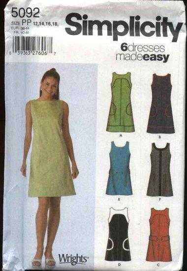 Simplicity Sewing Pattern 5092 Mises Size 4-6-8-10 Easy Summer Sleeveless Dress Mini-Dress Belt