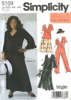 Simplicity Sewing Pattern 5109 Womans Plus Size 18W-24W Pants Skirt Top Hat Khaliah Ali