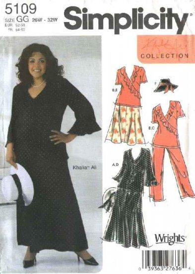 Simplicity Sewing Pattern 5109 Womans Plus Size 26W-32W Skirt Pants Top Hat Khaliah Ali