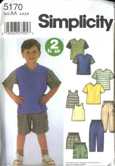 Simplicity Sewing Pattern 5170 Childs Boys Size 3-6 2 Hour T-shirt Tank Top Pull-On Pants Shorts