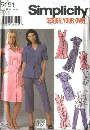 Simplicity Sewing Pattern 5191 Misses Size 8-16 Shirtdress Tunic  Cropped Pants Dress