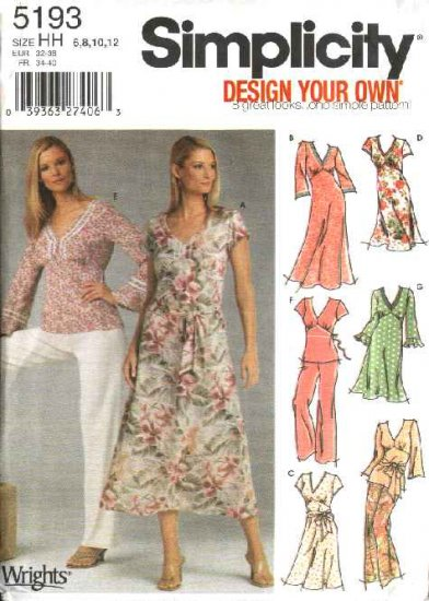 Simplicity Sewing Pattern 5193 Misses Size 6-8-10-12 Empire Dress Top Tunic Pants Sash
