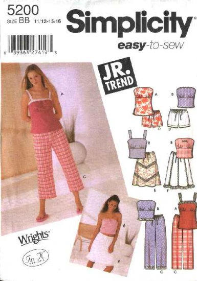Simplicity Sewing Pattern 5200 Junior Size 3/4-9/10 Easy Wardrobe Tunic Top Pants Skirt Shorts