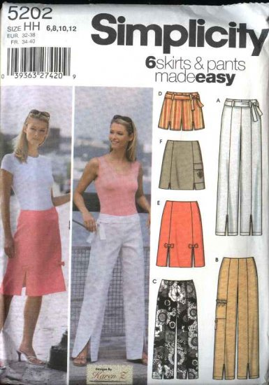 Simplicity Sewing Pattern 5202 Misses Size 6-12  Easy A-Line Skirts Cropped Pants Shorts Belt