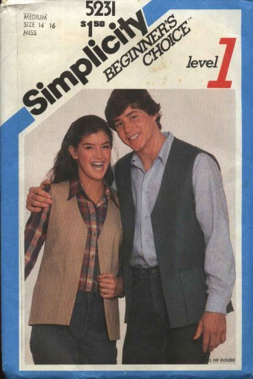 Retro Simplicity Sewing Pattern 5231 Misses Size 14-16 Unlined Vest