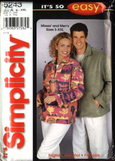"""Simplicity Sewing Pattern 5243 Misses Mens Unisex Size chest 34 - 52"""" Jacket Top"""