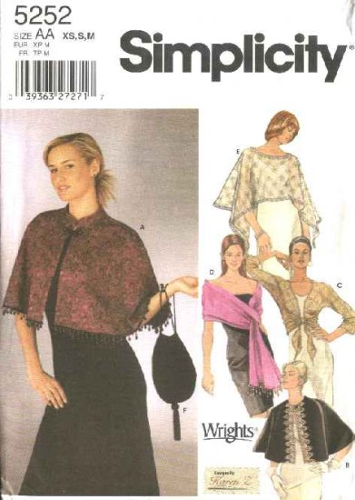 Simplicity Sewing Pattern 5252 Misses Size 6-16 Formal Evening Wraps Cape Shawl Shrug Purse Bag