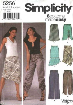 Simplicity Sewing Pattern 5256 Misses Size 4-6-8-10 Easy Pull-on Pants Bias Skirts