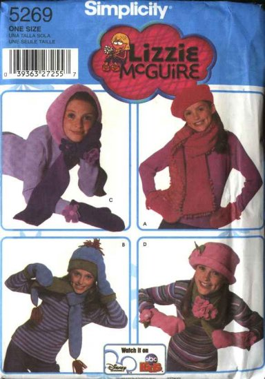 Simplicity Sewing Pattern 5269 Girls' Fleece Hats Mittens Scarves Lizzie McGuire