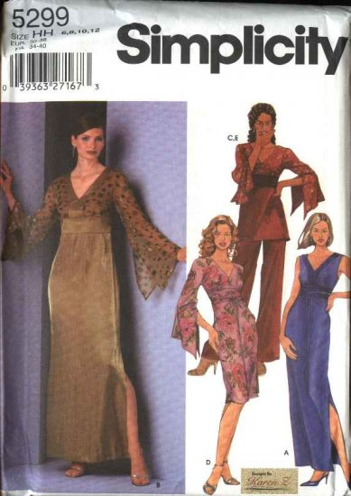 Simplicity Sewing Pattern 5299 Misses Size 6-8-10-12 Formal Long Short Dresses Tunic Pants