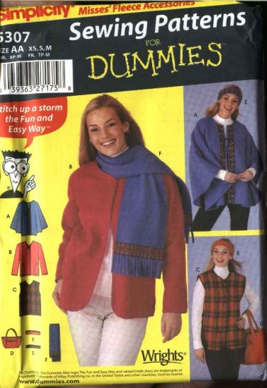 Simplicity Sewing Pattern 5307 Misses Size 18-24 Easy Fleece Poncho Jacket Vest Totebag Scarf