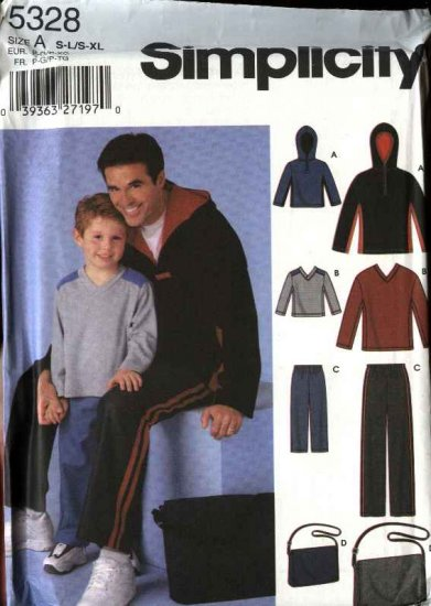 Simplicity Sewing Pattern 5328 Boys Mens Size S-L/S-XL Pants Knit Hooded Tops Bag